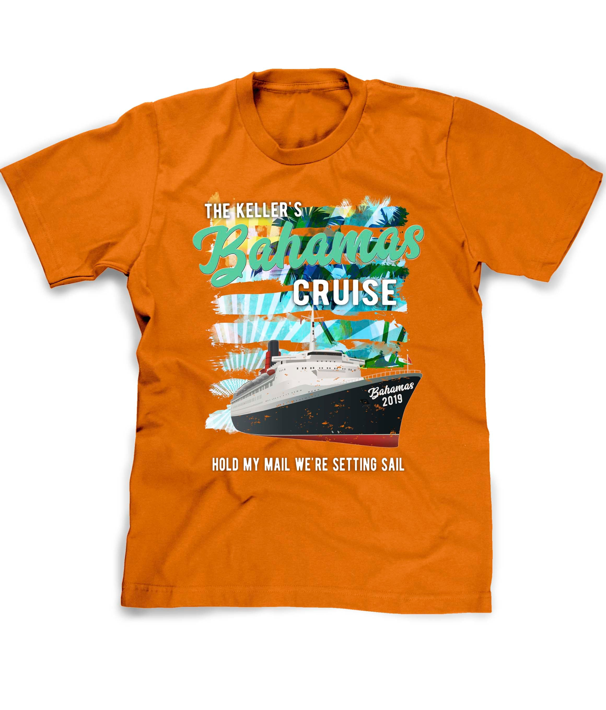 Bahamas Cruise tee shirt in orange