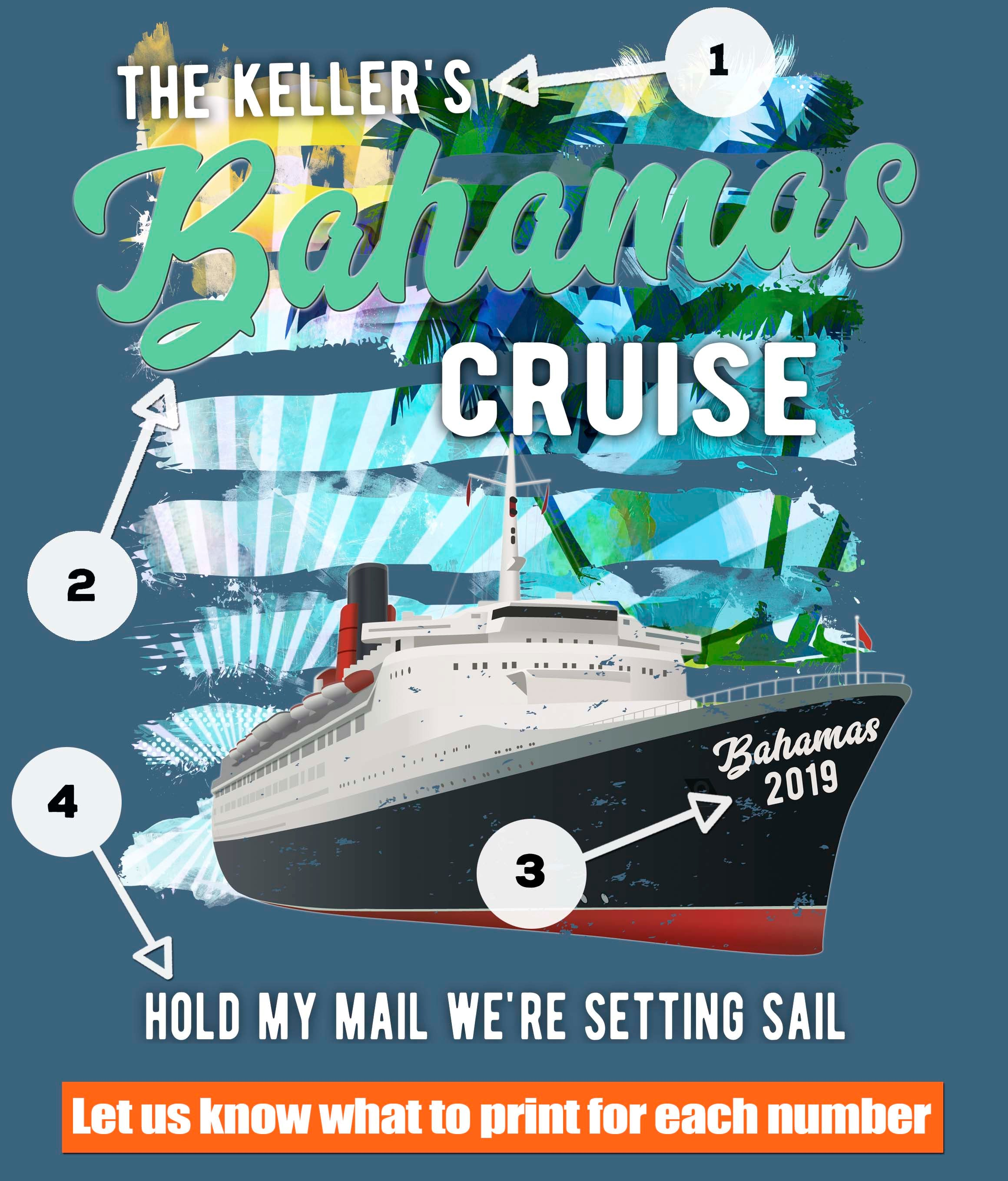 Bahamas Cruise t-shirt printing options