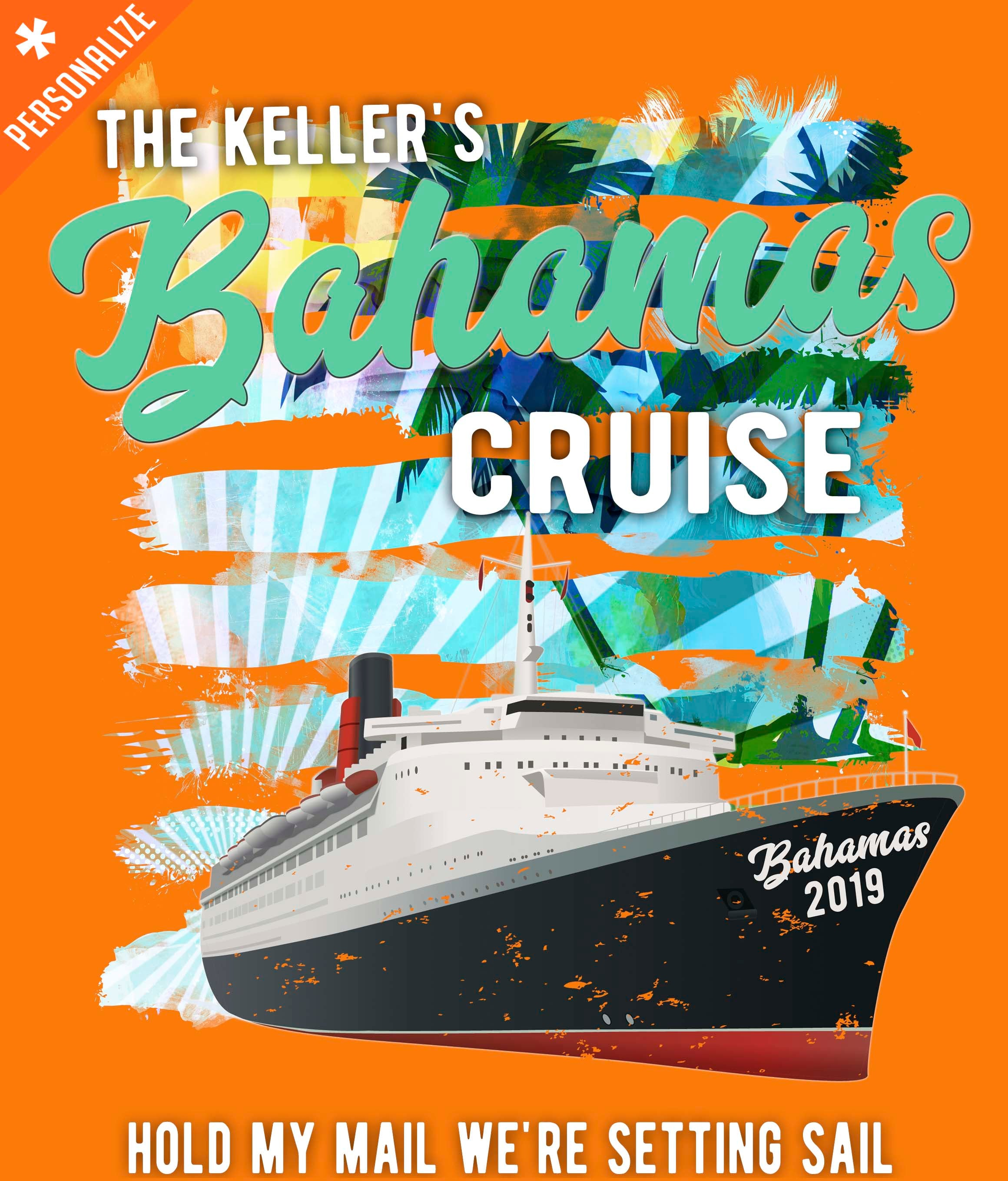 Custom Cruise Vacation t-shirt design closeup