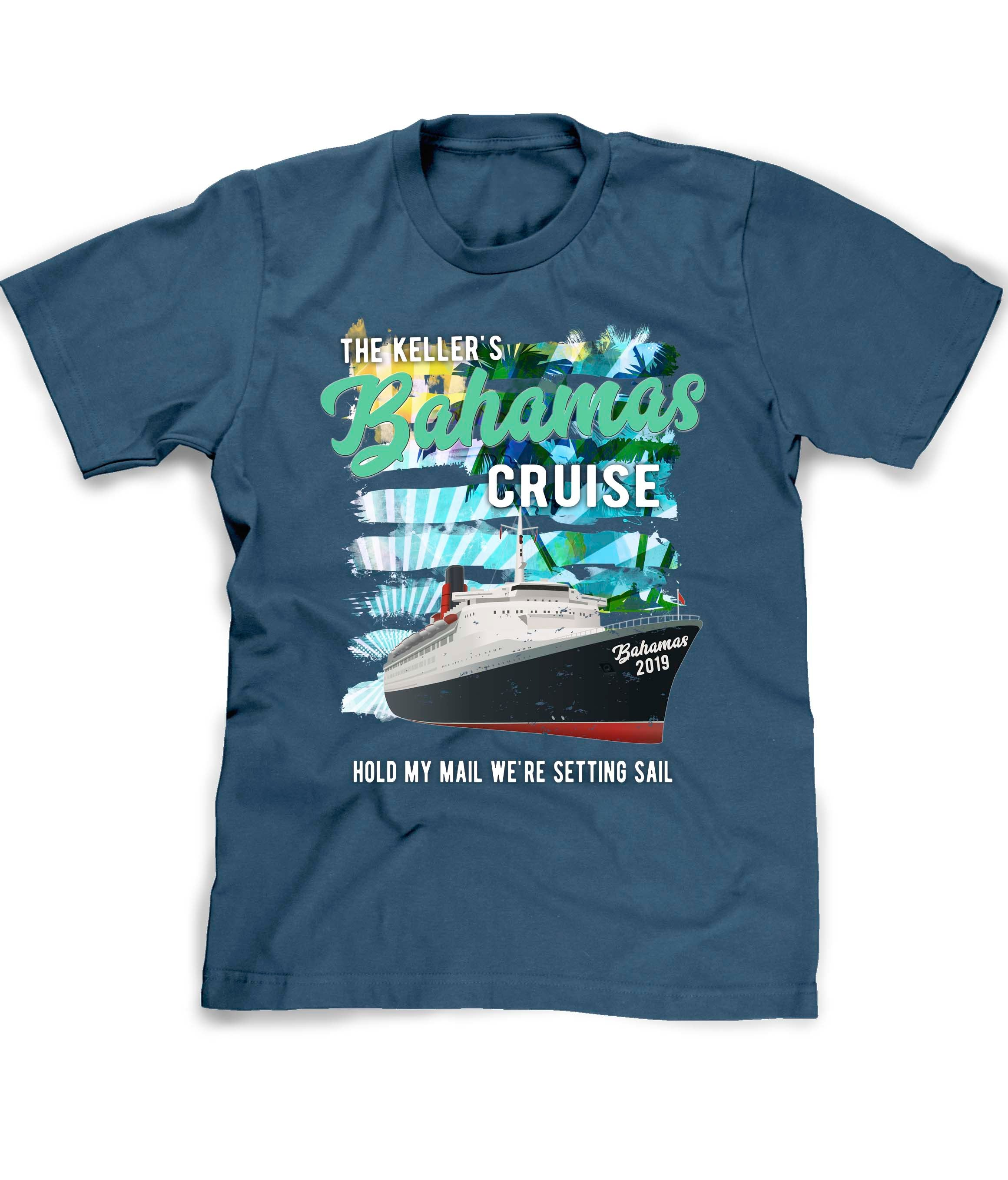 Custom cruise vacation shirt in blue