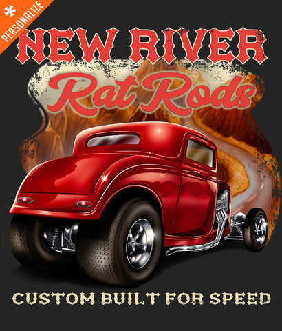 Custom Hot Rod t-shirt design closeup