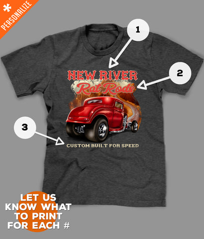 Personalized Hot Rod Shirt printing options