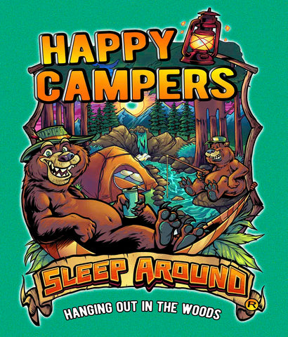 Happy Campers Sleep Around® t-shirt design closeup