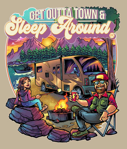 Closeup of Sleep Around camping design