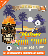 Custom Tiki Bar t-shirt design printing options