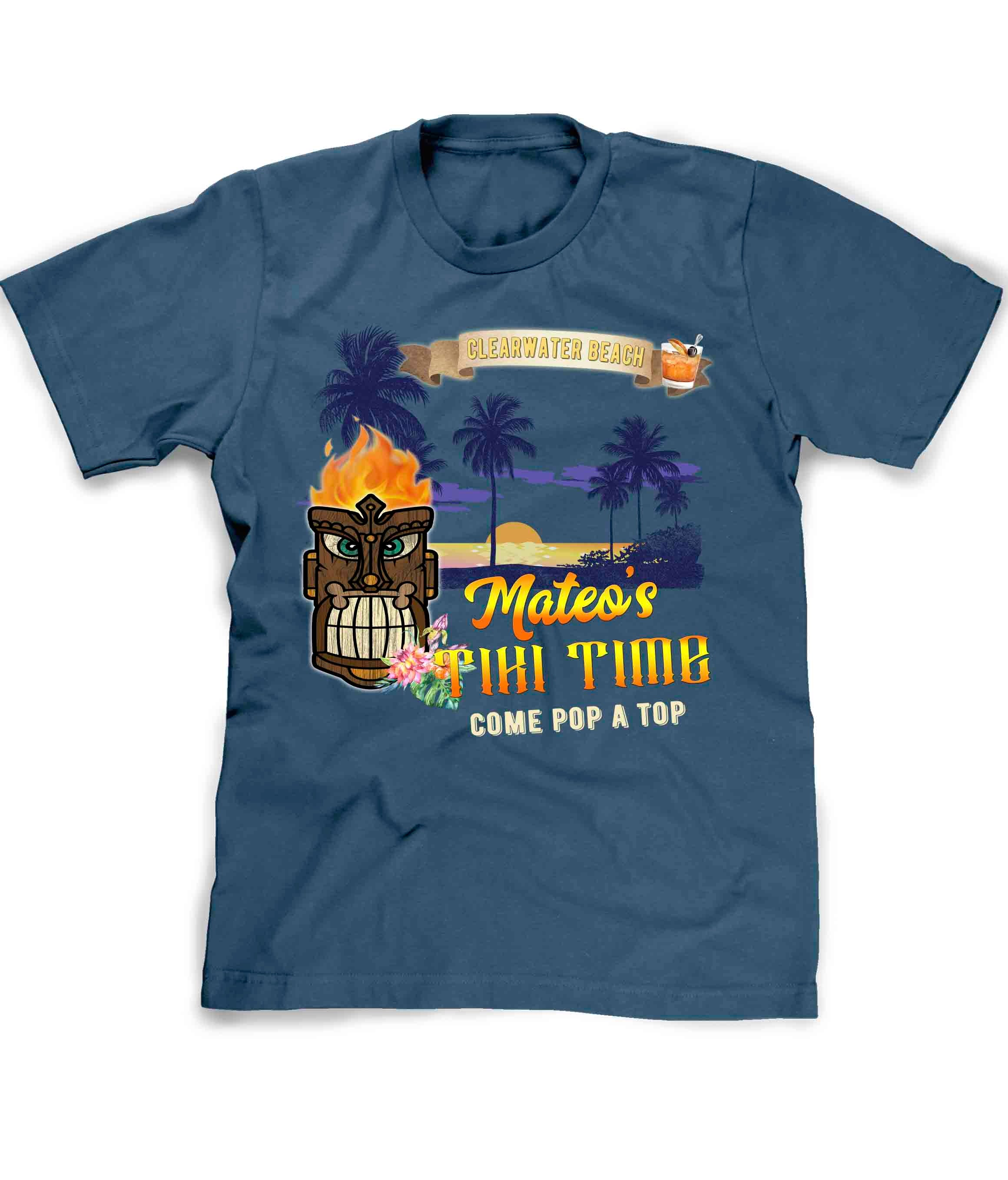 Tropical Tiki Bar tee shirt in blue