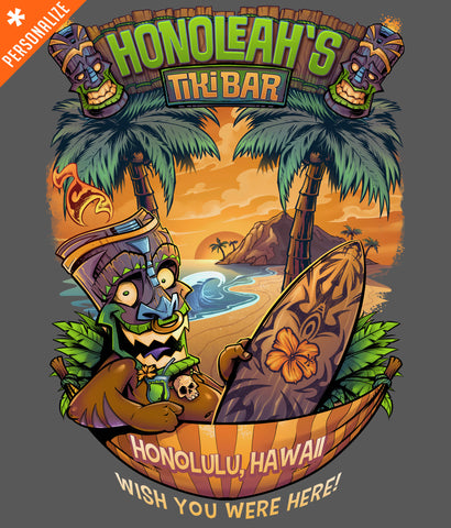 Hawaiian Tiki Custom T-shirt design closeup