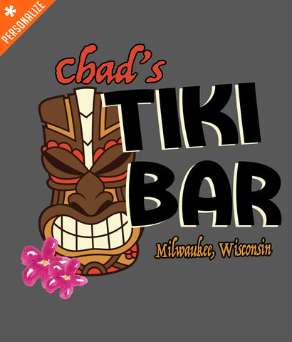 CUSTOM TIKI BAR T-SHIRT DESIGN CLOSEUP
