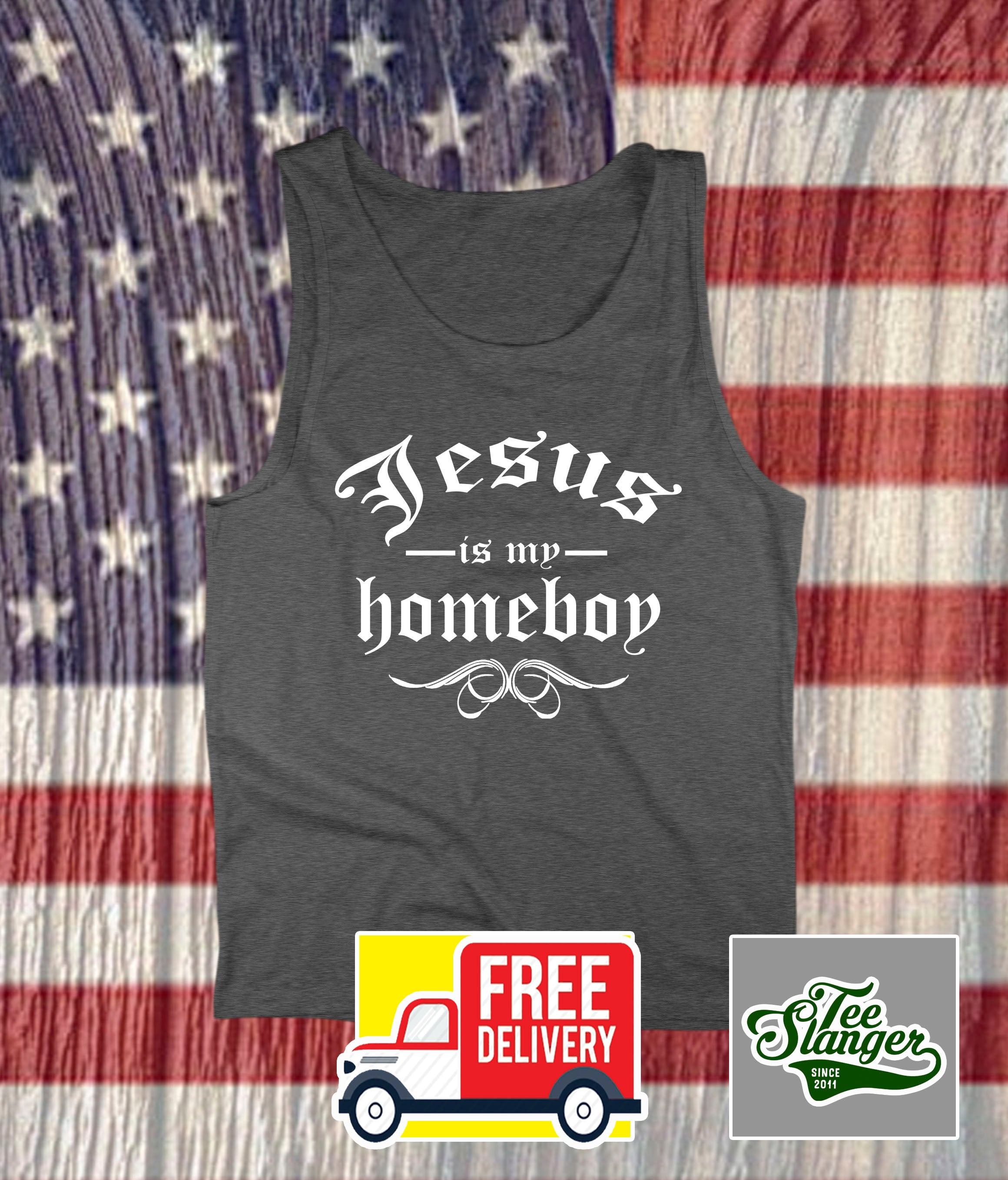JESUS IS MY HOMEBOY CHARCOAL GREY TANK TOP