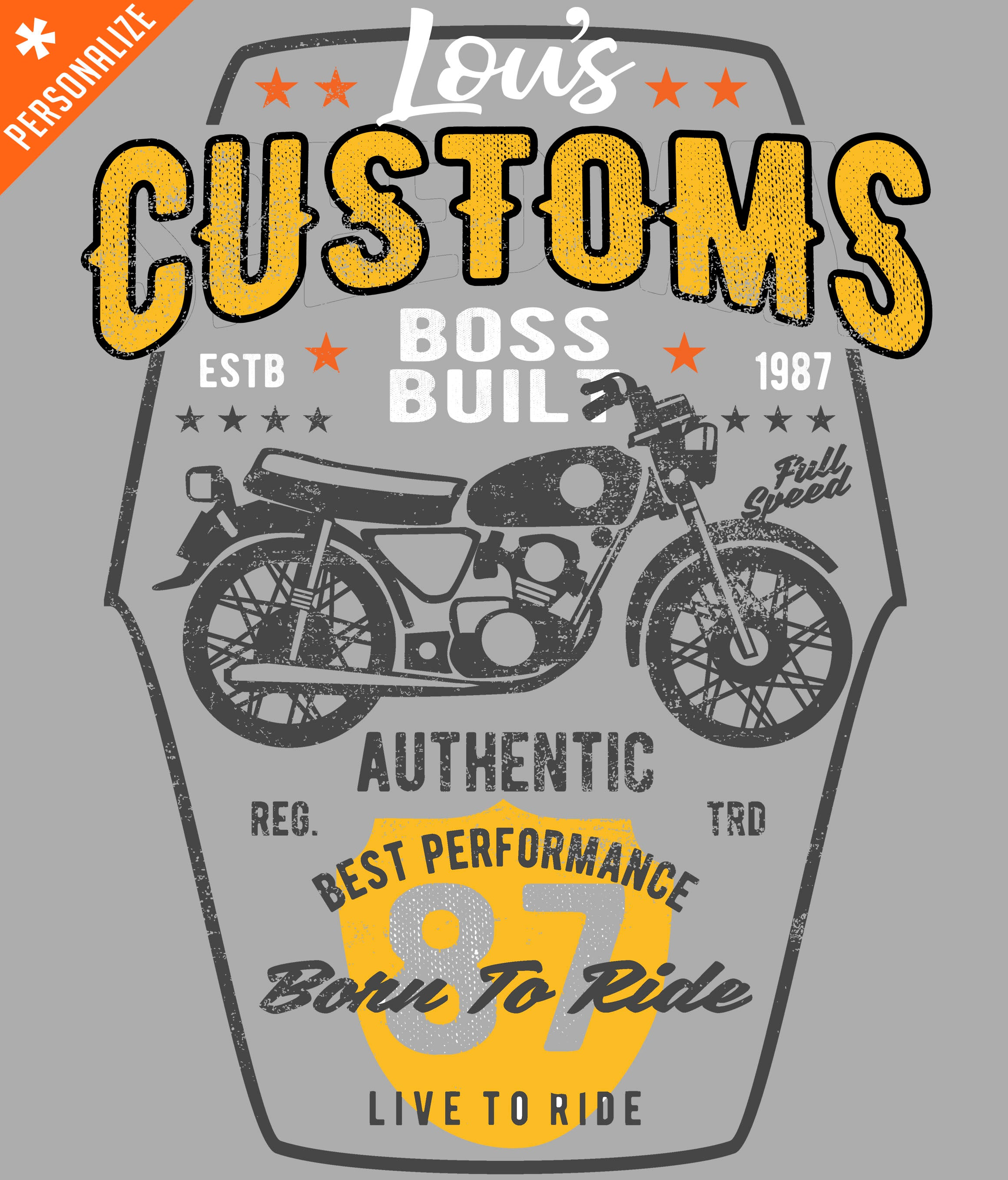 PERSONALIZED BIKER T-SHIRT DESIGN CLOSEUP
