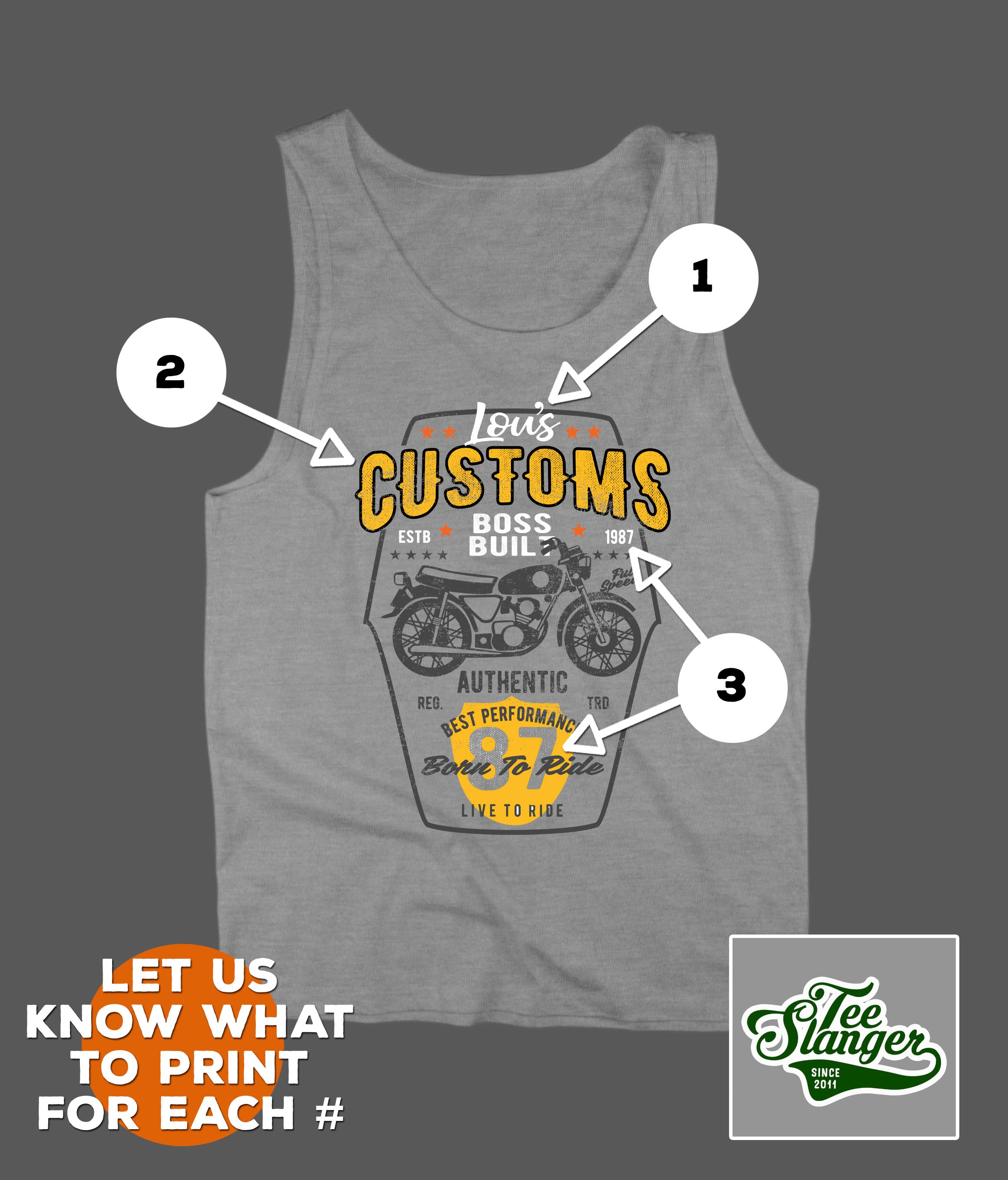CUSTOM BIKER T-SHIRT PERSONALIZATION OPTIONS