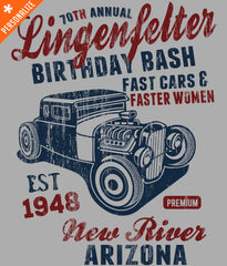 CUSTOM BIRTHDAY HOT ROD T-SHIRT DESIGN CLOSEUP