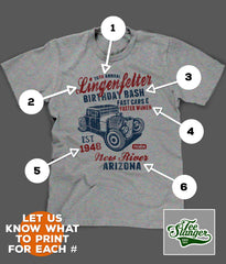CUSTOM HOT ROD BIRTHDAY T-SHIRT PRINTING OPTIONS