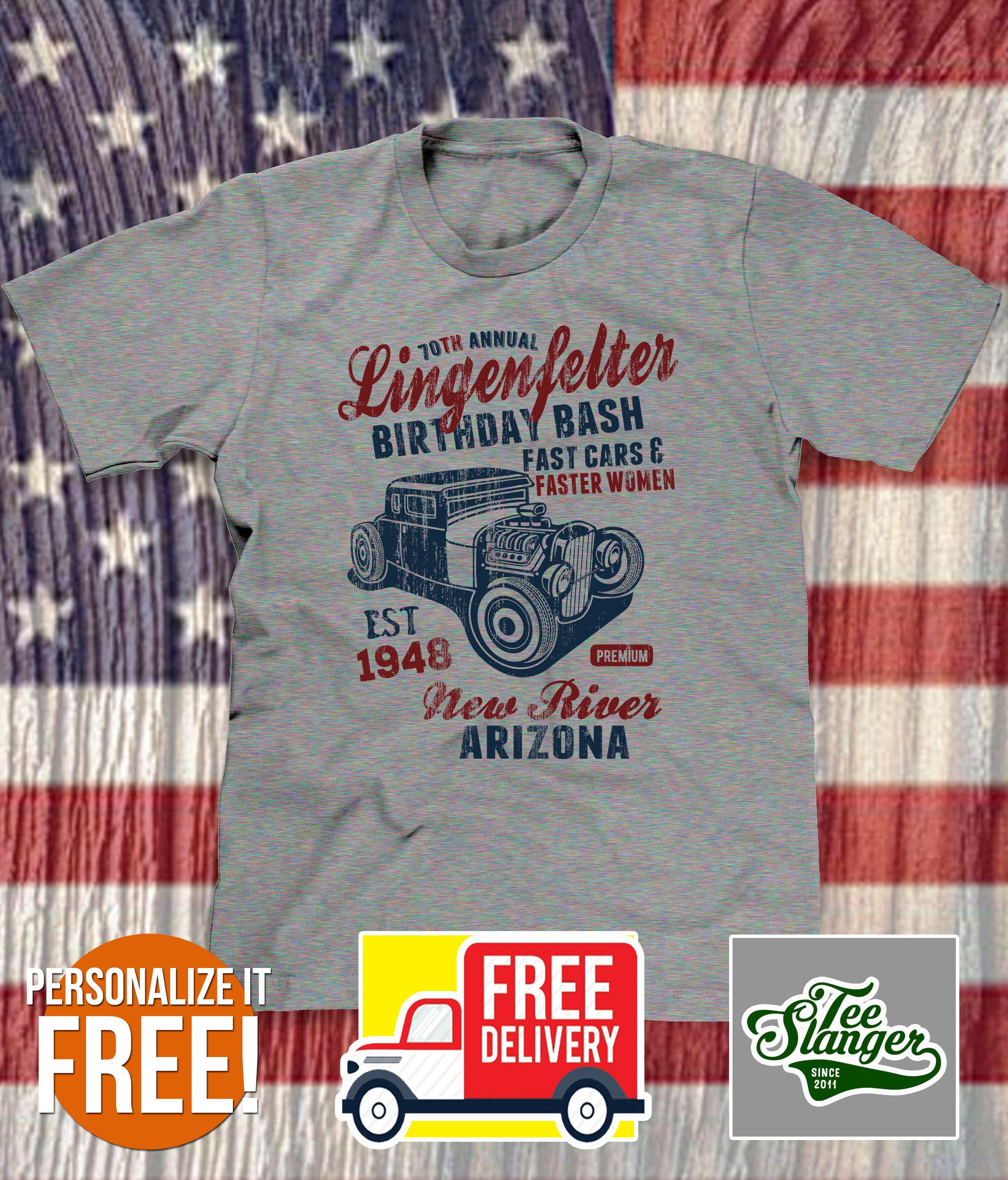 PERSONALIZED HOT ROD BIRTHDAY T-SHIRT