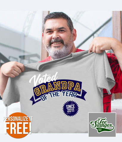 PERSONALIZED GRANDPA OF THE YEAR T-SHIRT ON MODEL