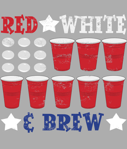 RED WHITE AND BREW T-SHIRT DESIGN CLOSEUP