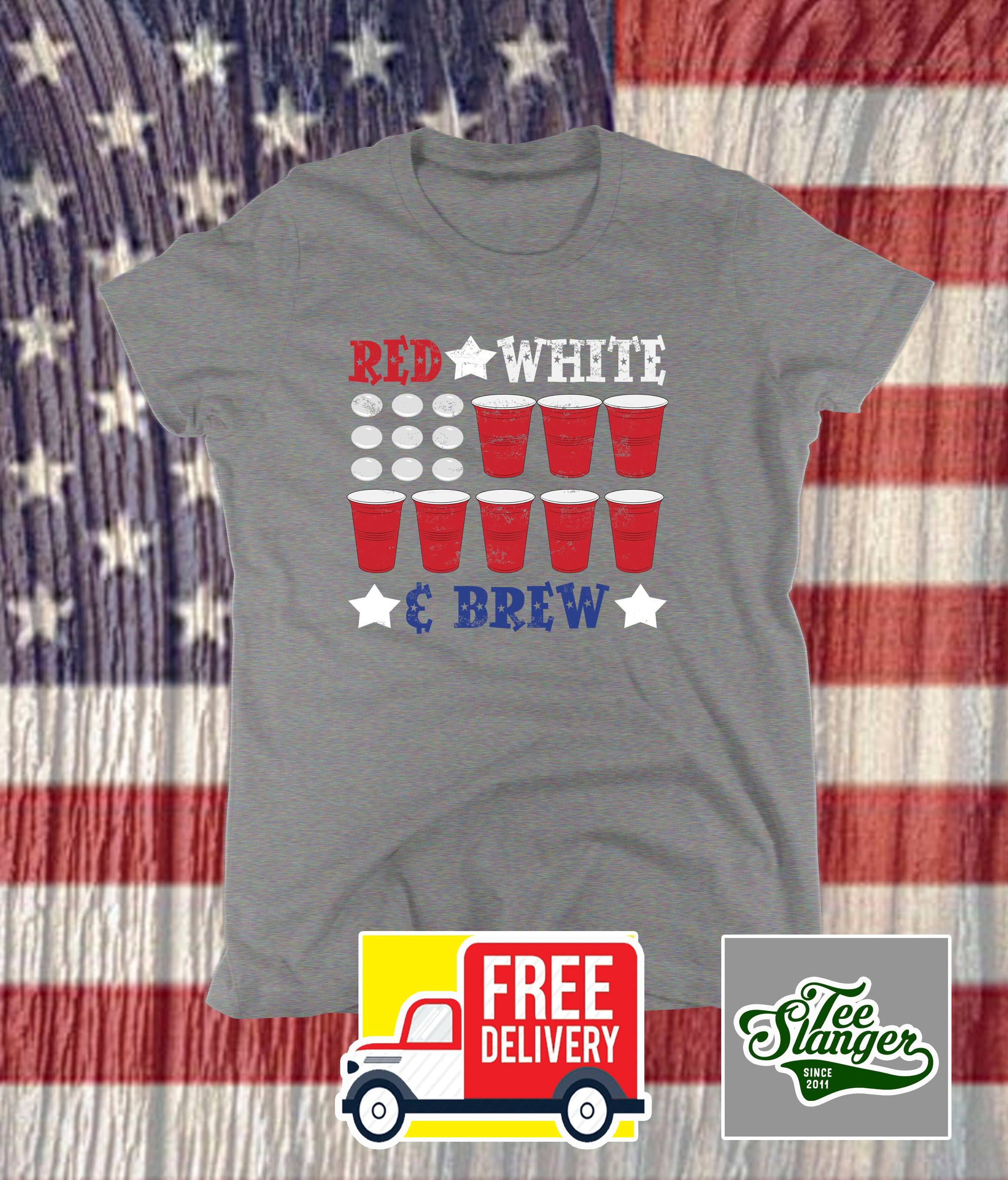 RED WHITE AND BREW LADIES T-SHIRT