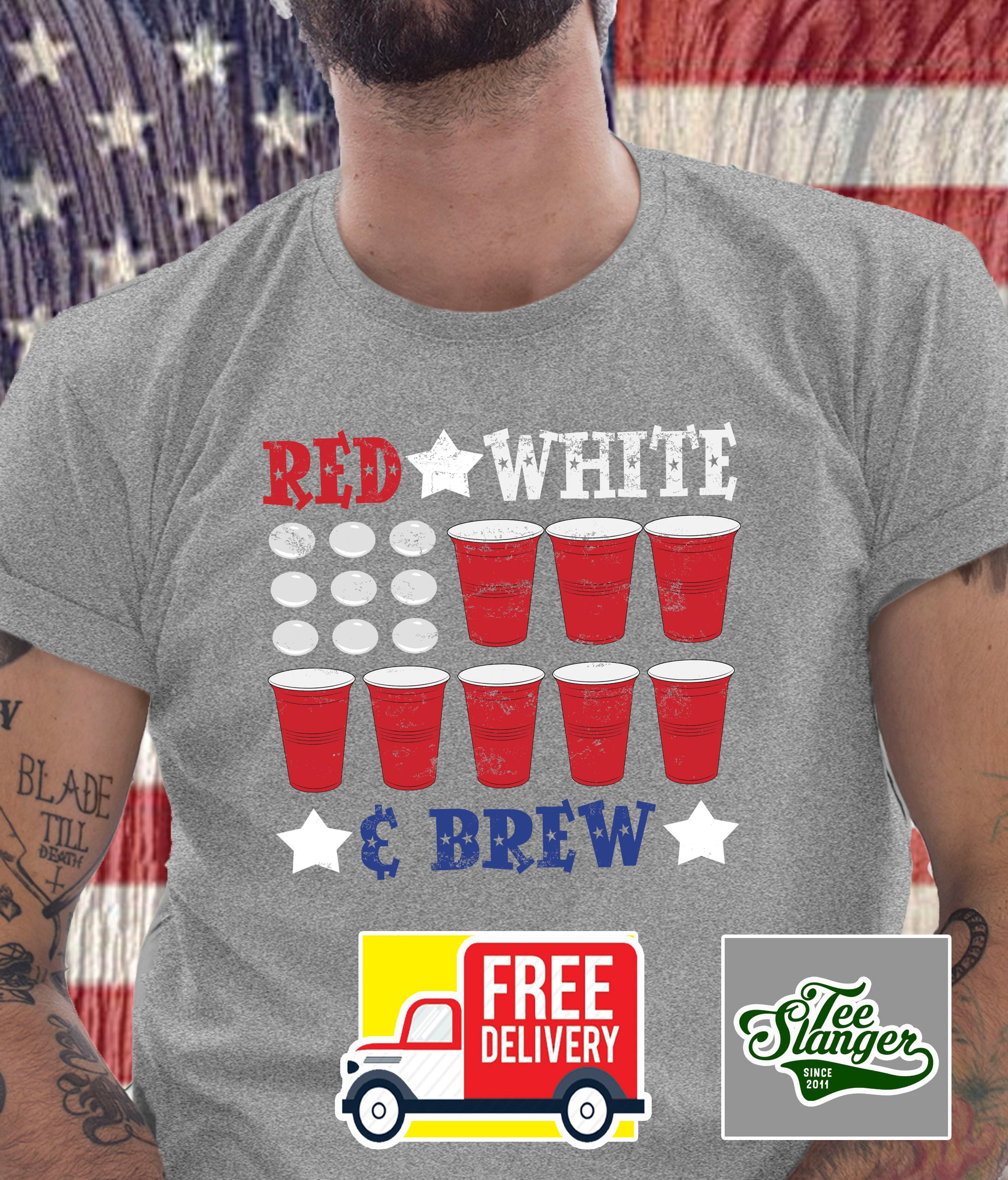 RED WHITE AND BREW T-SHIRT ON MODEL