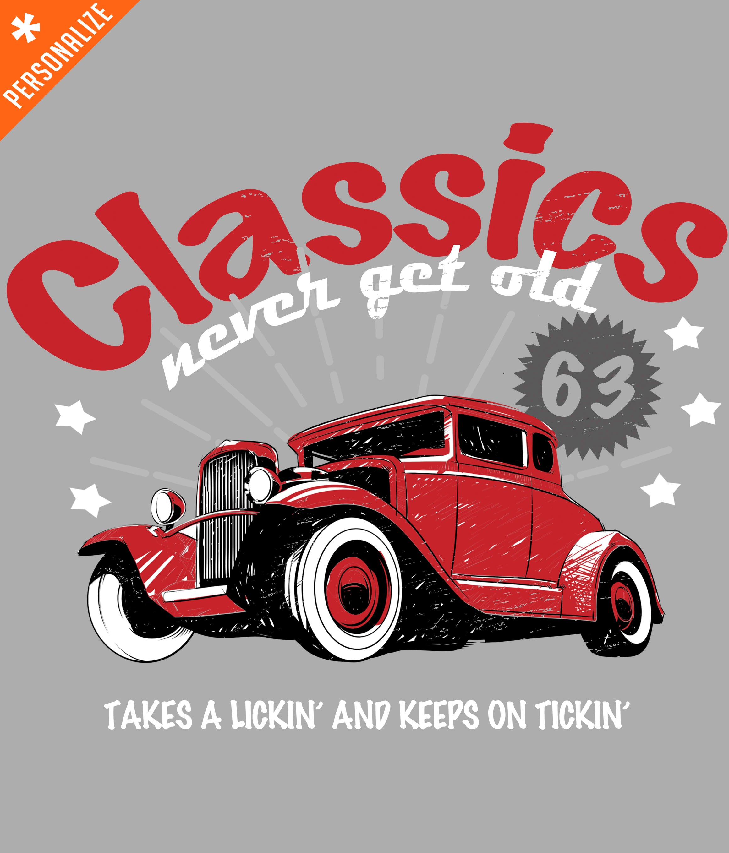 PERSONALIZED CLASSIC CAR T-SHIRT DESIGN CLOSEUP