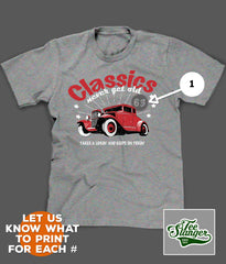 PERSONALIZED CLASSIC CAR T-SHIRT PRINTING OPTIONS