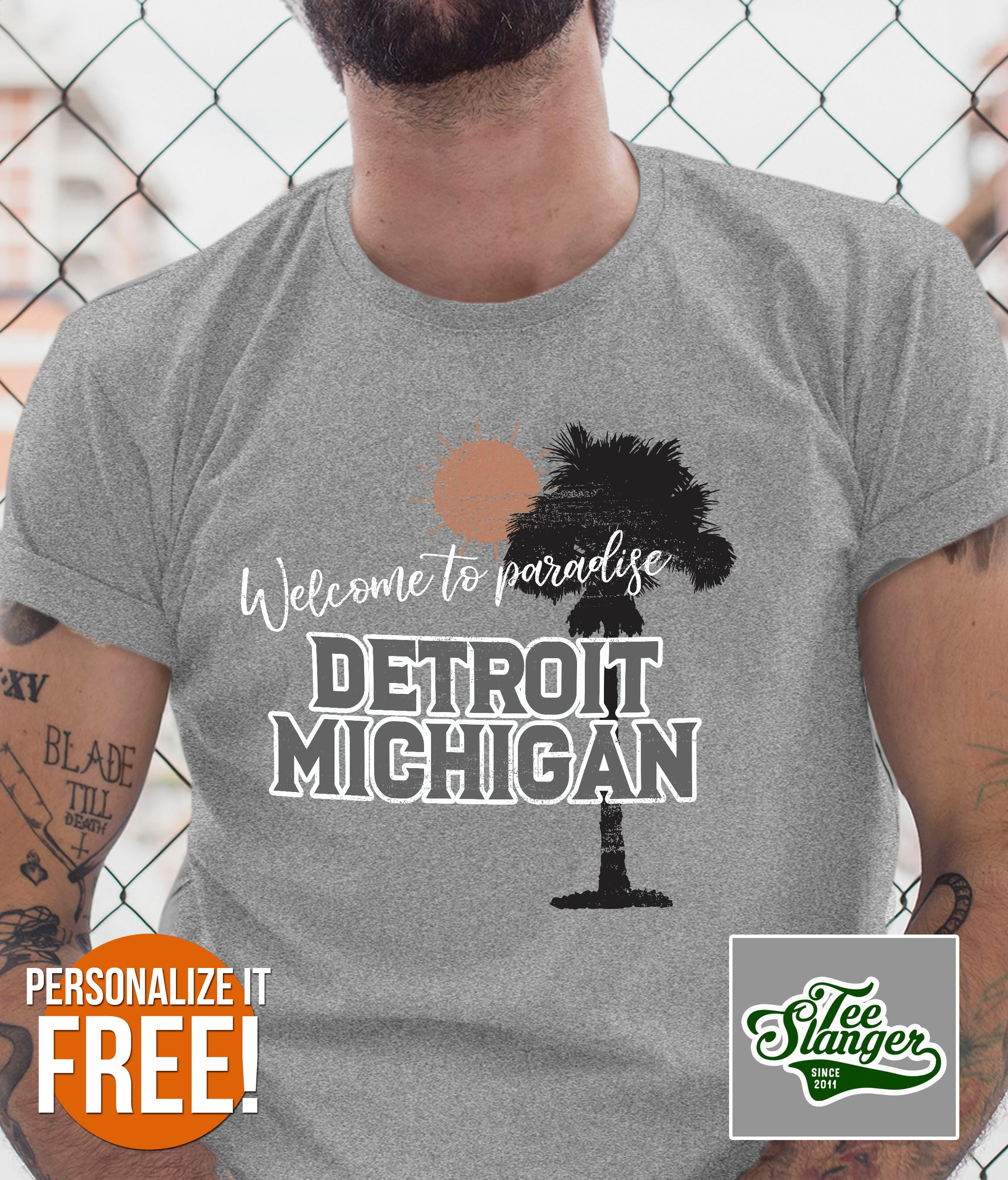 PERSONALIZED WELCOME TO PARADISE T-SHIRT ON MODEL