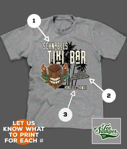 PERSONALIZED TIKI BAR T-SHIRT PRINTING OPTIONS