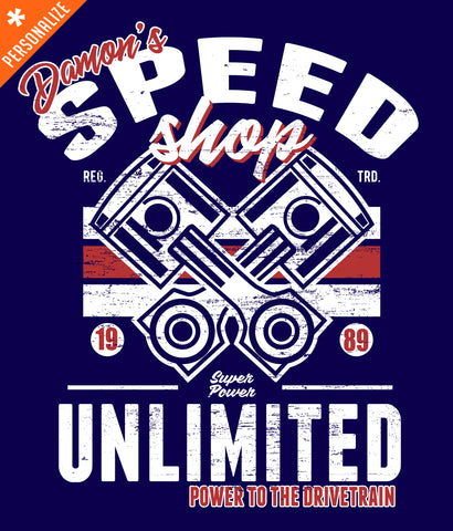PERSONALIZED SPEED SHOP T-SHIRT DESIGN CLOSEUP