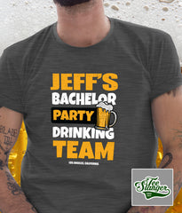 PERSONALIZED BACHELOR PARTY T-SHIRT ON MODEL