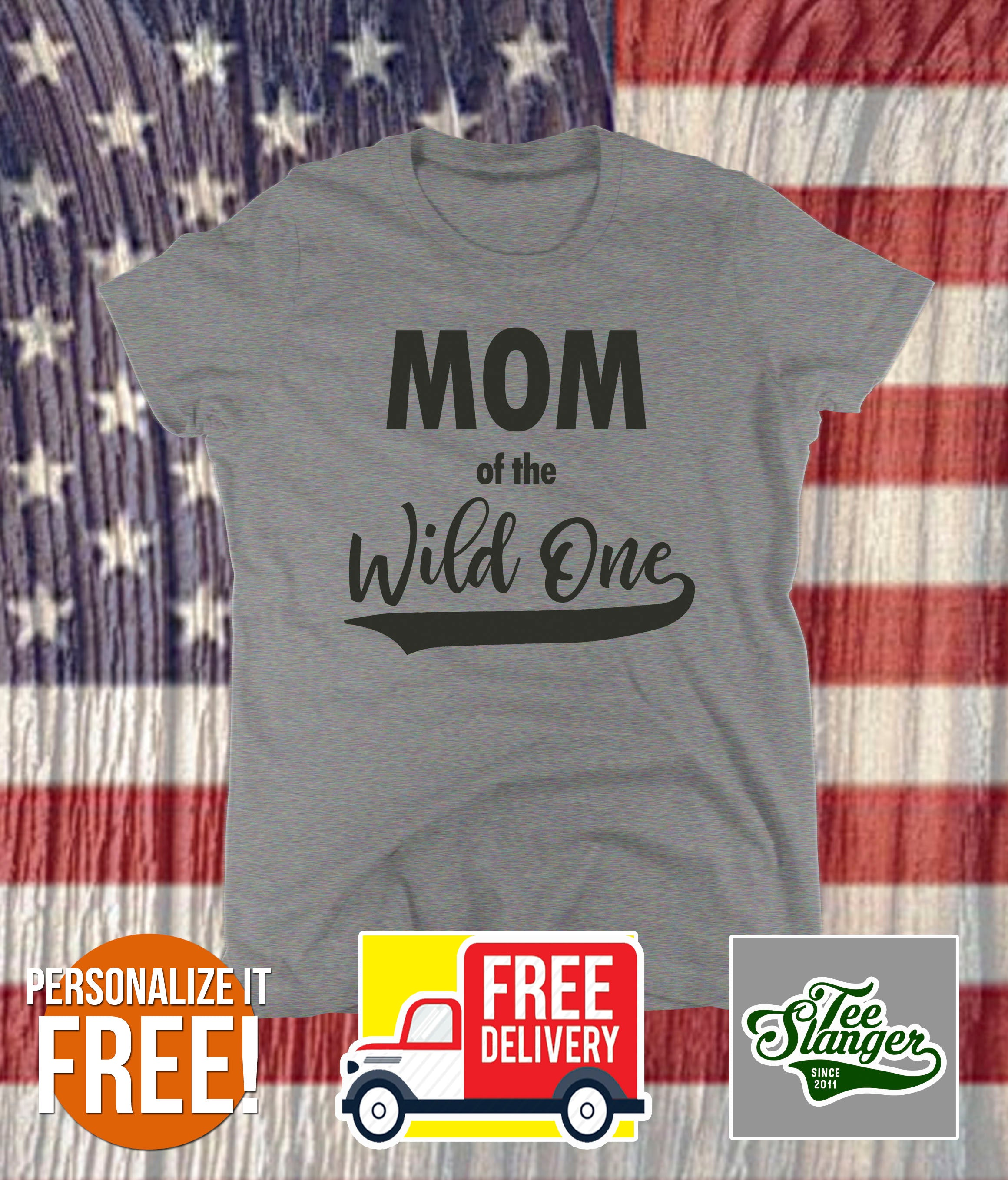decdd104 Mom of the Wild One Personalized T-shirt – Teeslanger