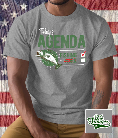 Fishing or Work t-shirt on model