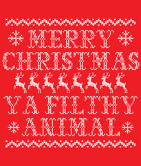 Filthy Animal Ugly Sweater Christmas T-shirt design closeup