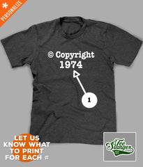 Personalization options for Copyright birthday t-shirt
