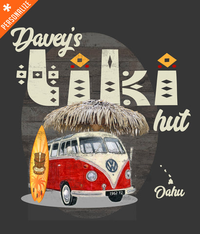Custom Tiki Hut T-shirt design closeup
