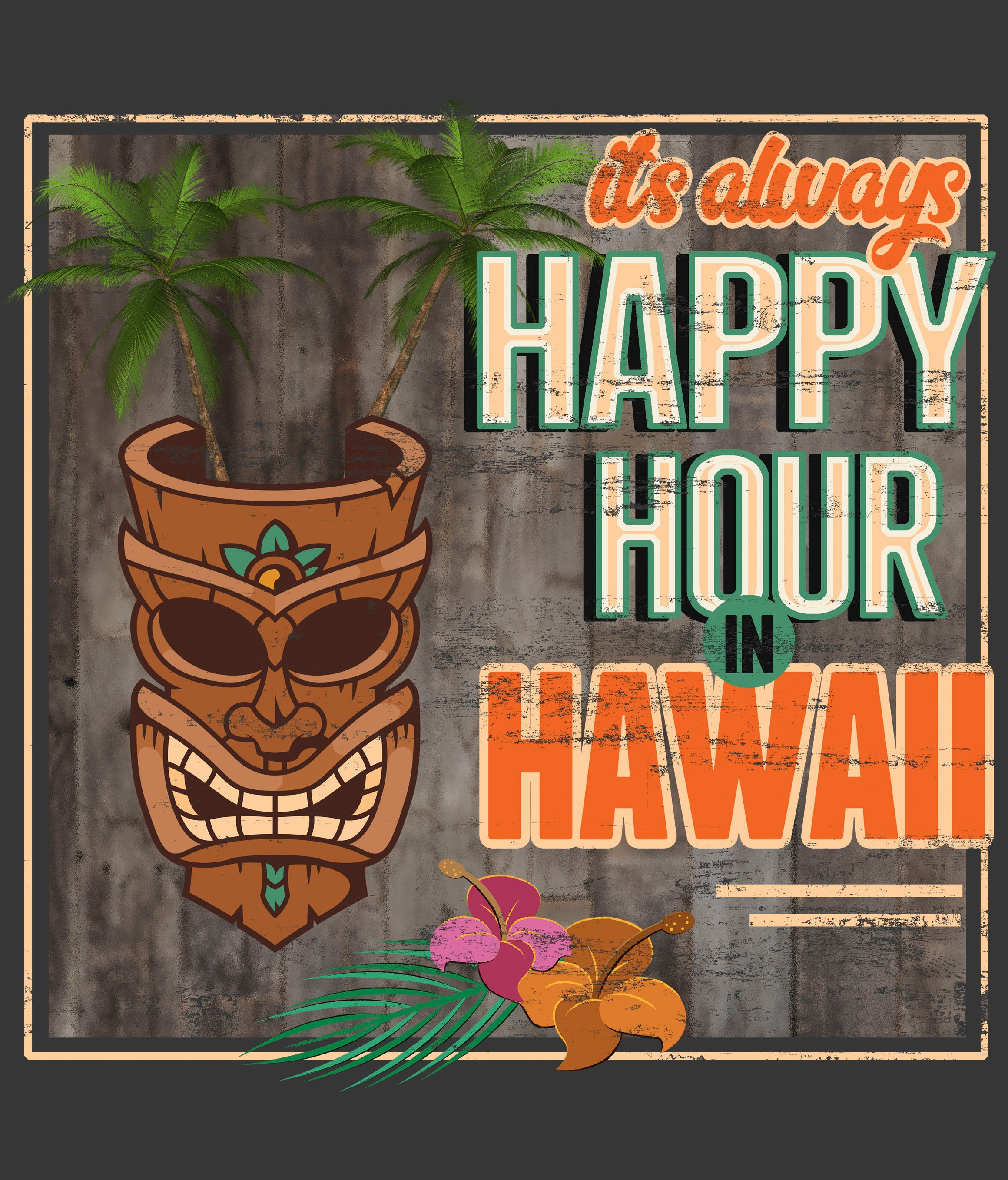 Hawaii Happy Hour T-shirt design closeup