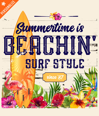 Summertime is Beachin' Personalized T-shirt design closeup