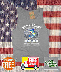 Custom Island Fishing Tank Top in heather grey