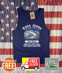 Custom Island Fishing Tank Top in navy blue