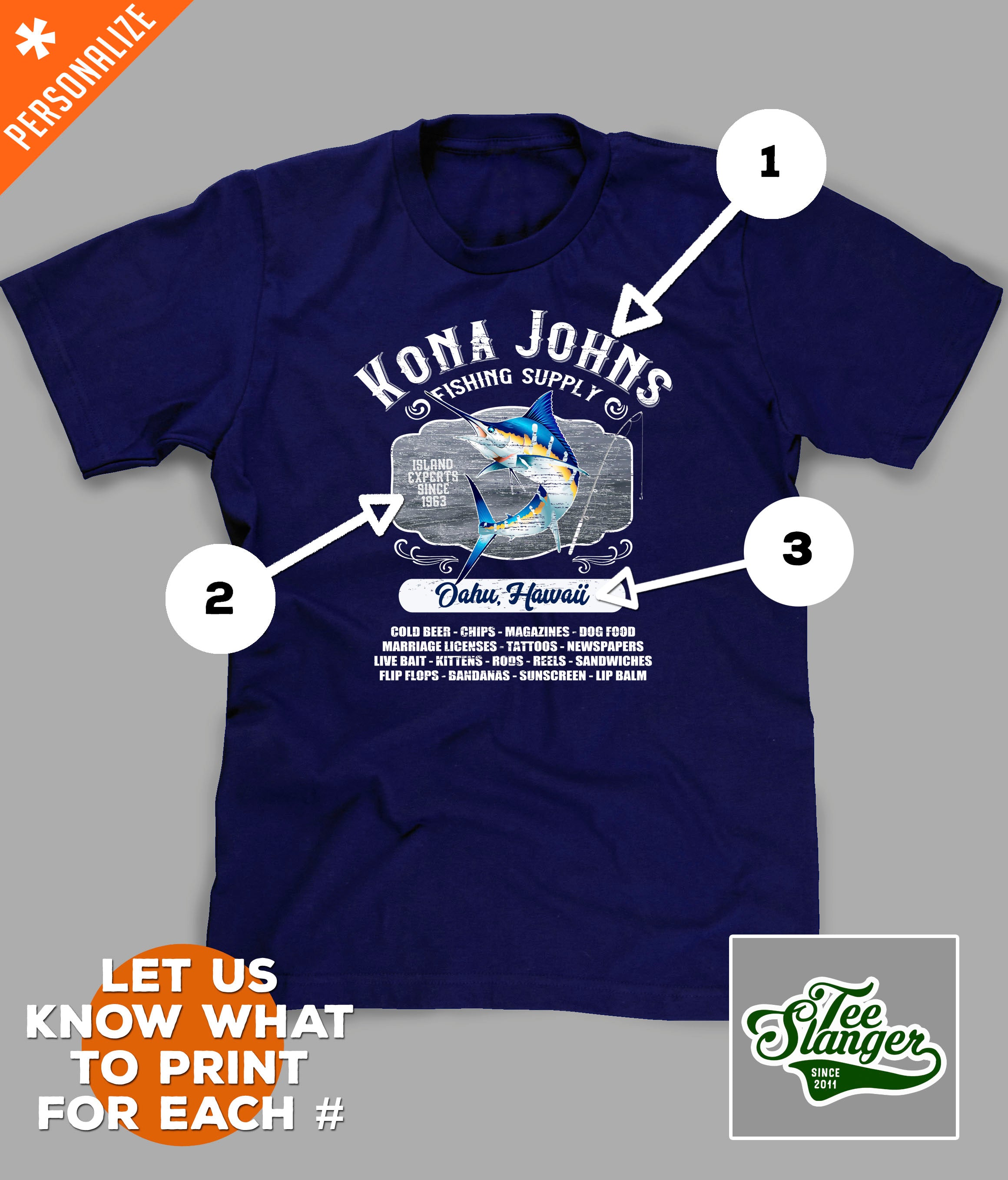 Custom Island Fishing T-shirt personalization options