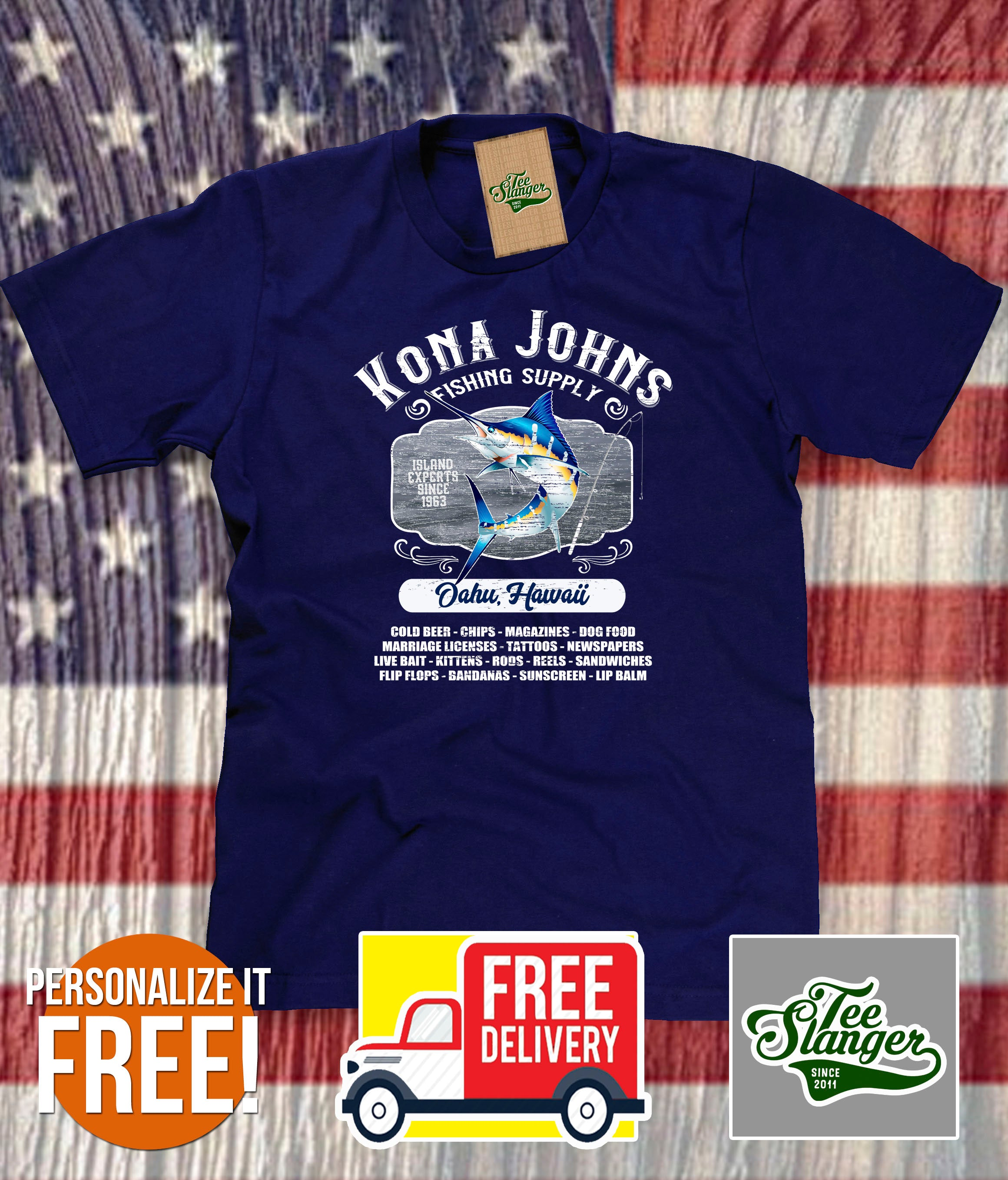 Custom Island Fishing T-shirt in navy blue