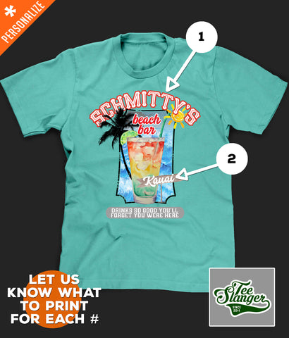 Personalized Beach Bar T-shirt customization options