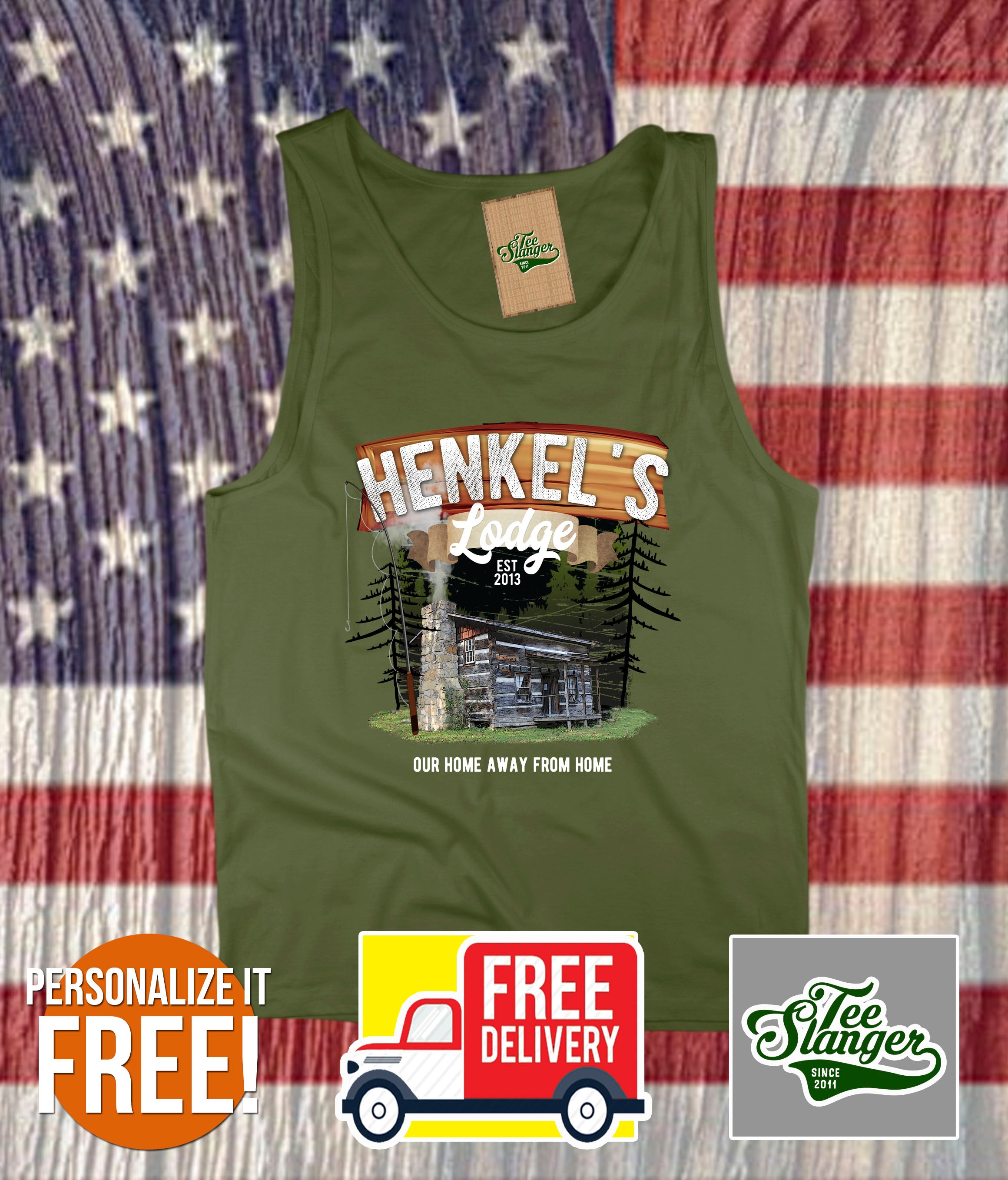 Personalized Family Vacation Lodge Tank Top