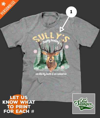Personalized Deer Hunting T-shirt customization options