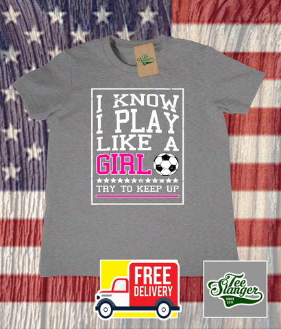 Play Like a Girl toddler Soccer T-shirt in heather grey