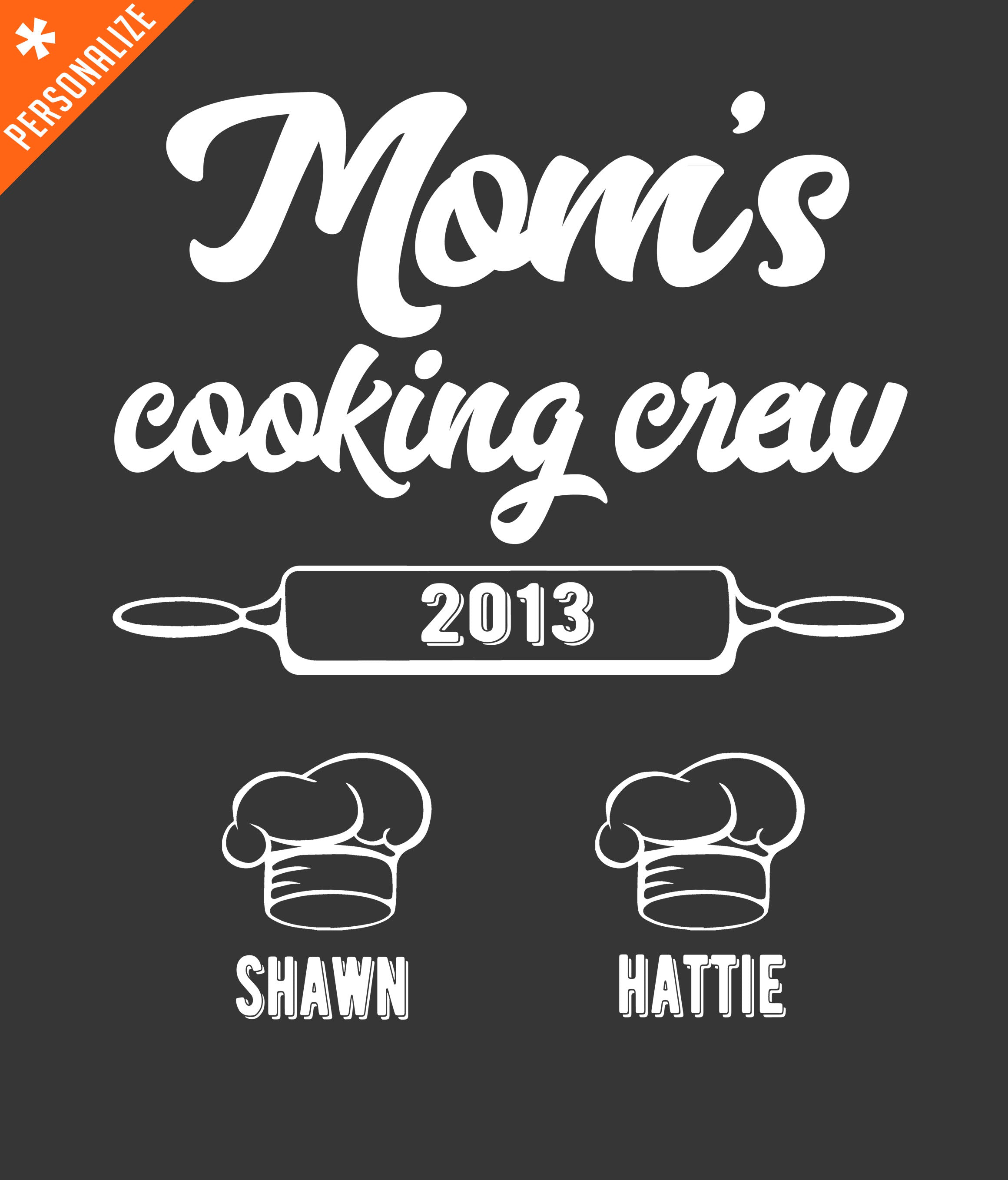 Mom's Cooking Buddies Personalized T-shirt design closeup