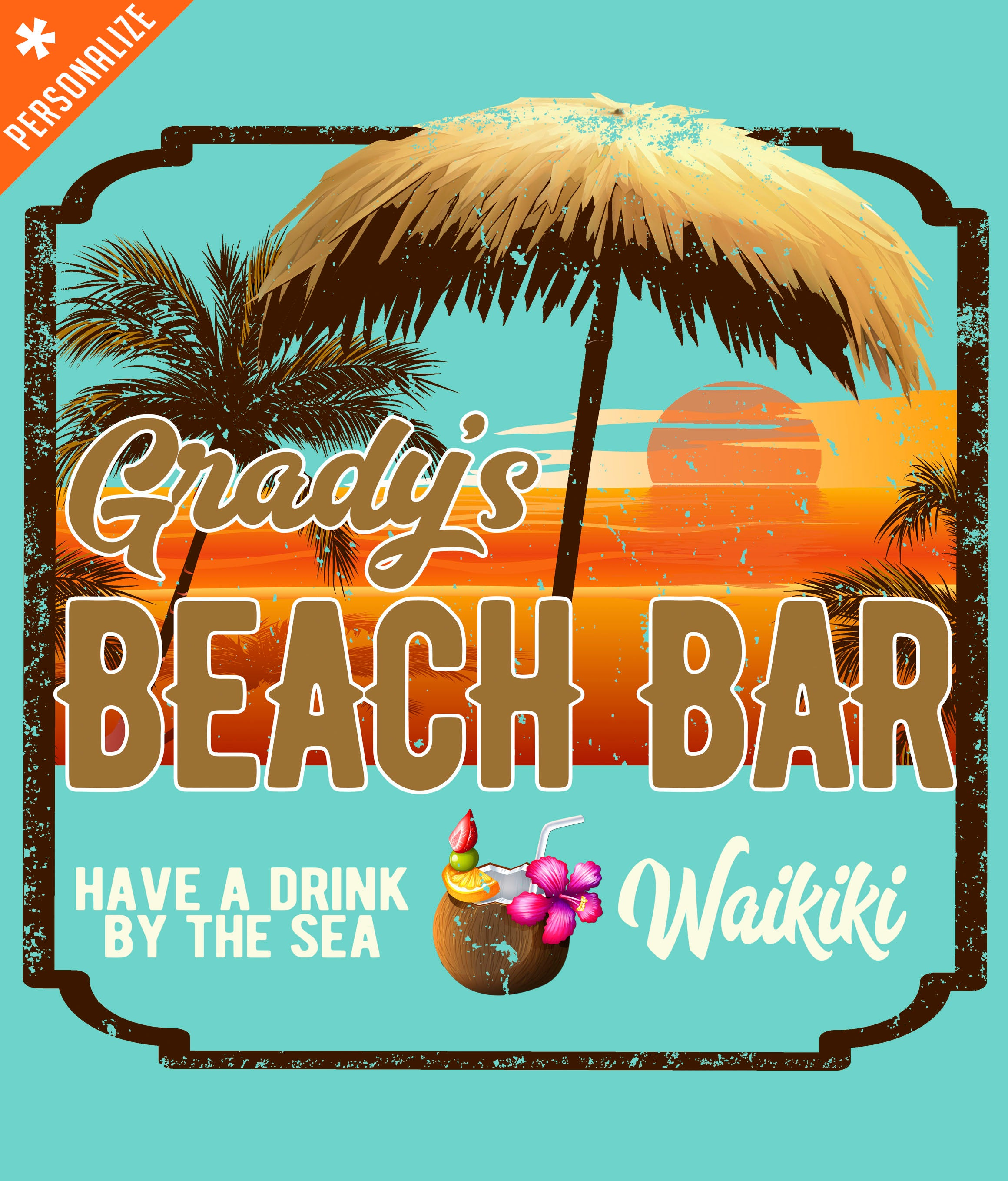 Customized Beach Bar T-shirt design closeup