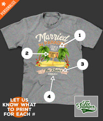 Hawaii Wedding T-shirt personalization options