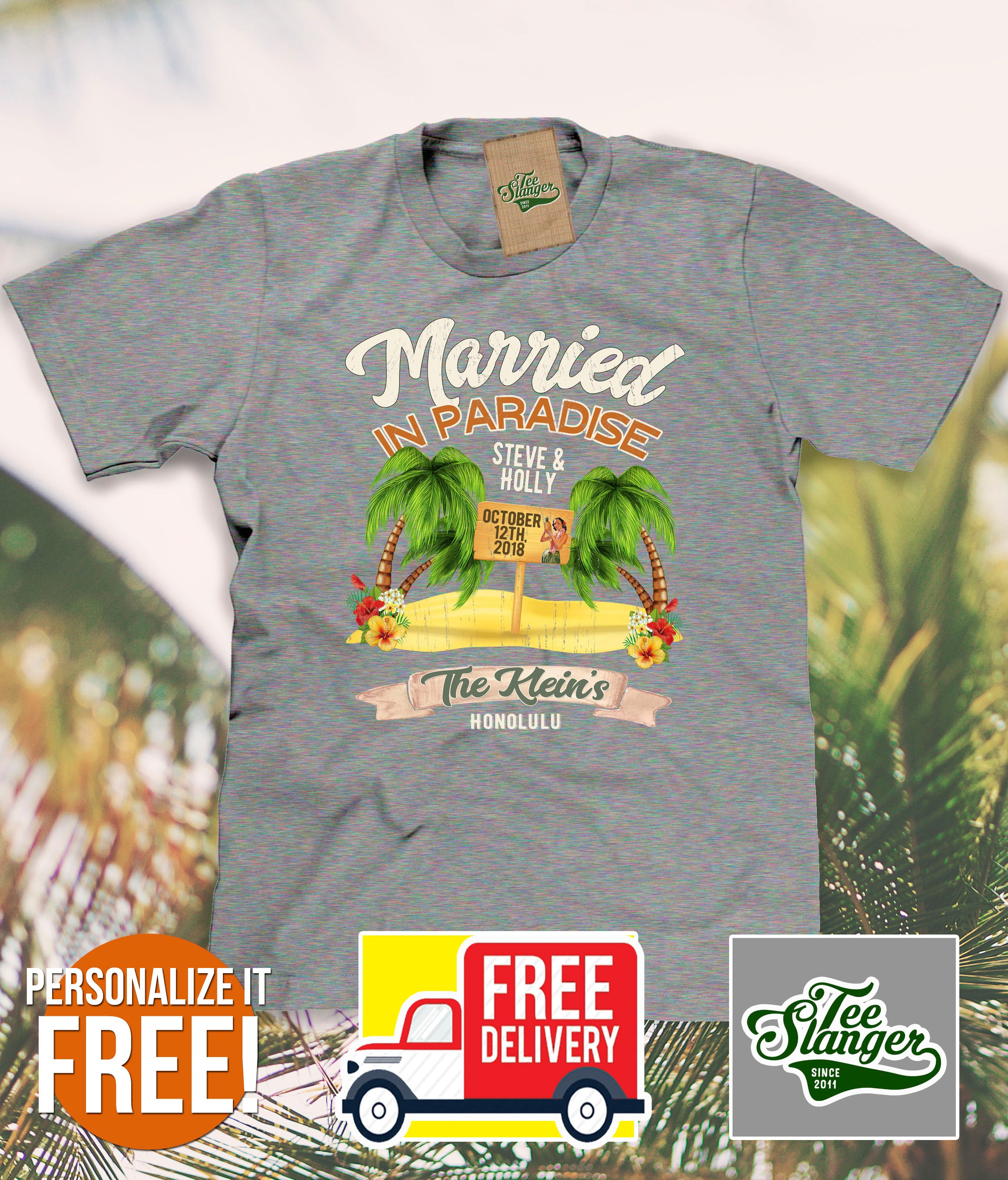 Customized Hawaii Wedding T-shirt