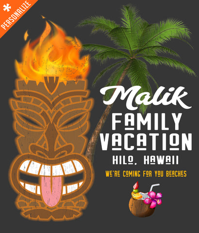 bf59be34f Custom Hawaiian Family Vacation T-shirt design closeup
