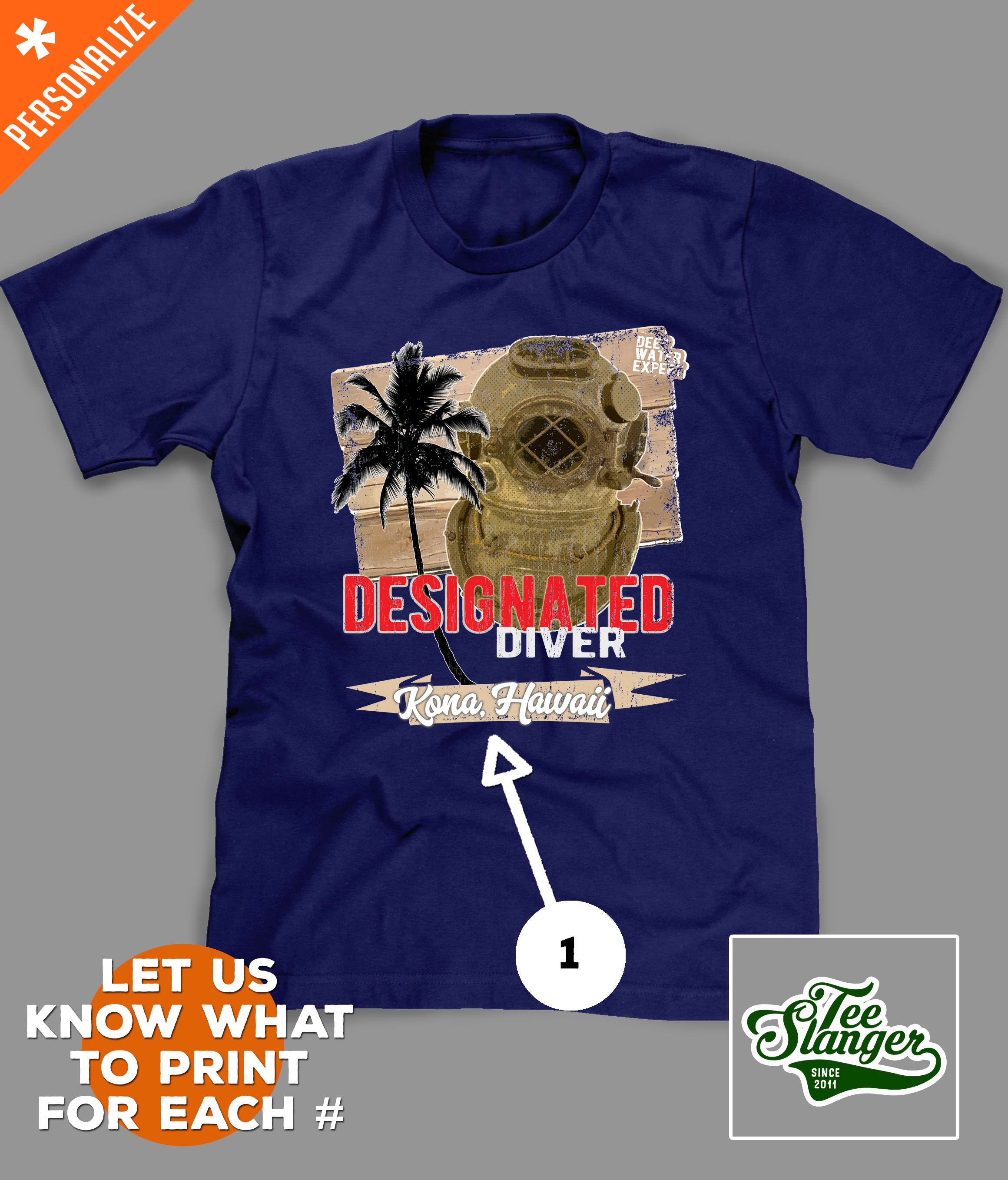 Designated Diver T-shirt Customization options