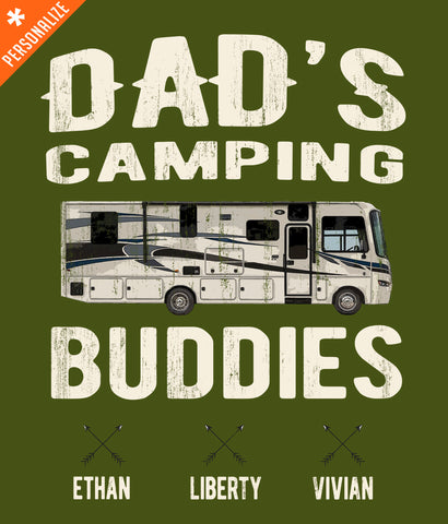 Dad's Camping Buddies T-Shirt design closeup